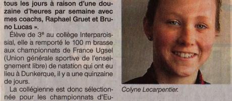 Natation : Colyne Lecarpentier, championne de France