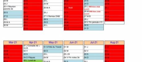 Calendrier scolaire 2020/2021 (modifié)
