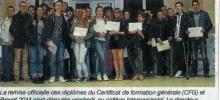 Remise de diplômes au collège d'Interparoissial